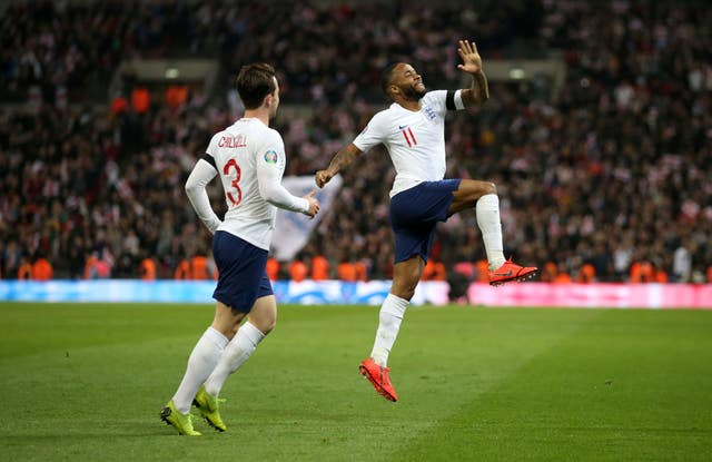 Raheem Sterling, right, was instrumental in England's victory (Steven Paston/PA)