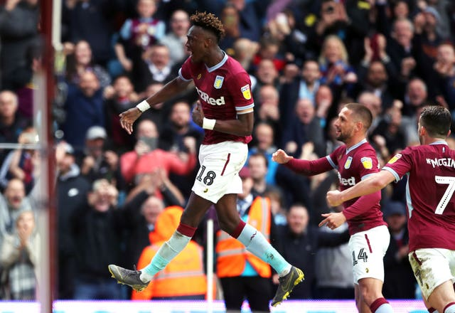 Tammy Abraham celebrates scoring at Villa Park