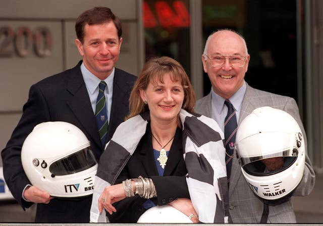 Walker with Martin Brundle (left) and Louise Goodman after ITV captured the broadcasting rights in 1997