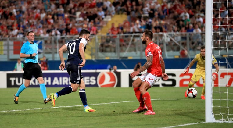 Snodgrass scored a hat-trick for Scotland against Malta in 2016