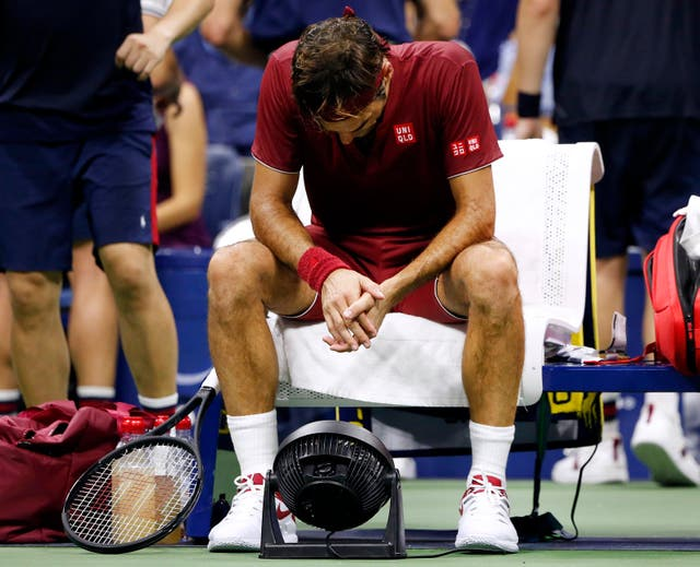 Roger Federer struggled with the humid conditions in New York