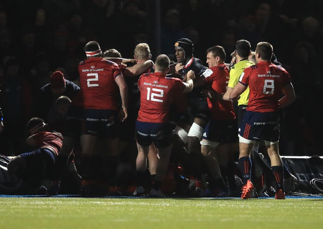 An fight breaks out between Saracens and Munster players during their European Rugby Champions Cup clash