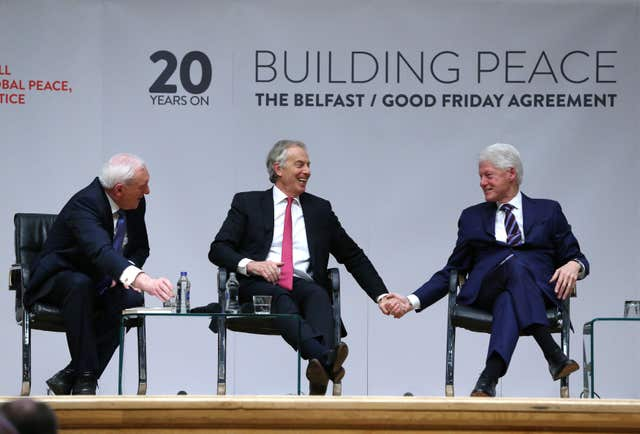 Former Taoiseach Bertie Ahern, former Prime Minister Tony Blair and former US President Bill Clinton (Brian Lawless/PA)
