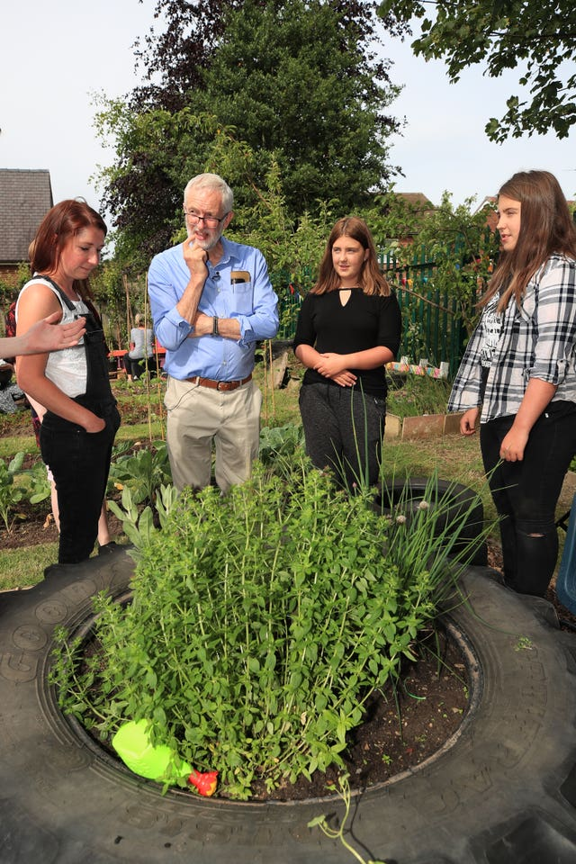 Jeremy Corbyn meets members of the community garden project