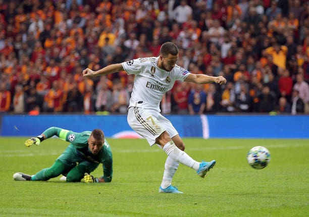 Real Madrid's Eden Hazard takes aim in Istanbul