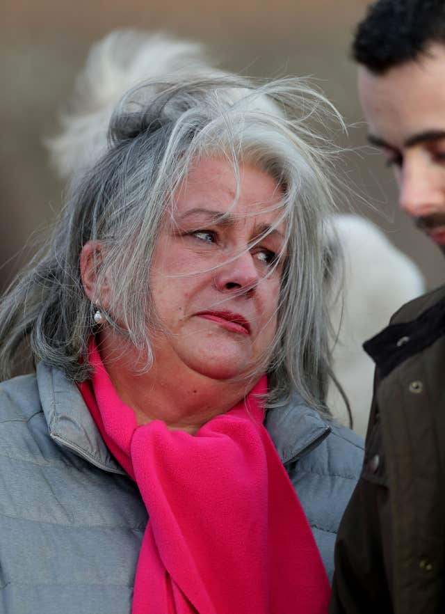 Joanne McLaren, the mother of Molly McLaren, listens as a  statement is read out outside Maidstone Crown Court (Gareth Fuller/PA)