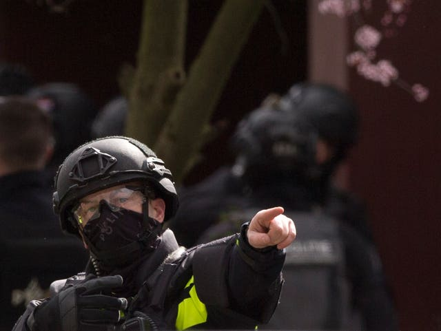 Dutch counter-terrorism police after a shooting in Utrecht