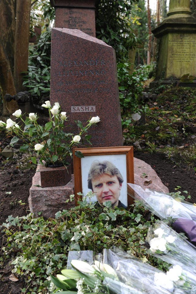 The grave of Alexander Litvinenko in Highgate Cemetery in north London