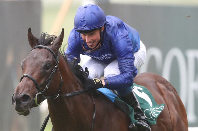 A big smile for William Buick as Pinatubo wins the National Stakes