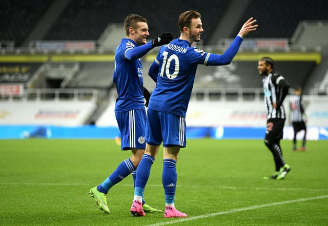 James Maddison celebrates his goal at Newcastle