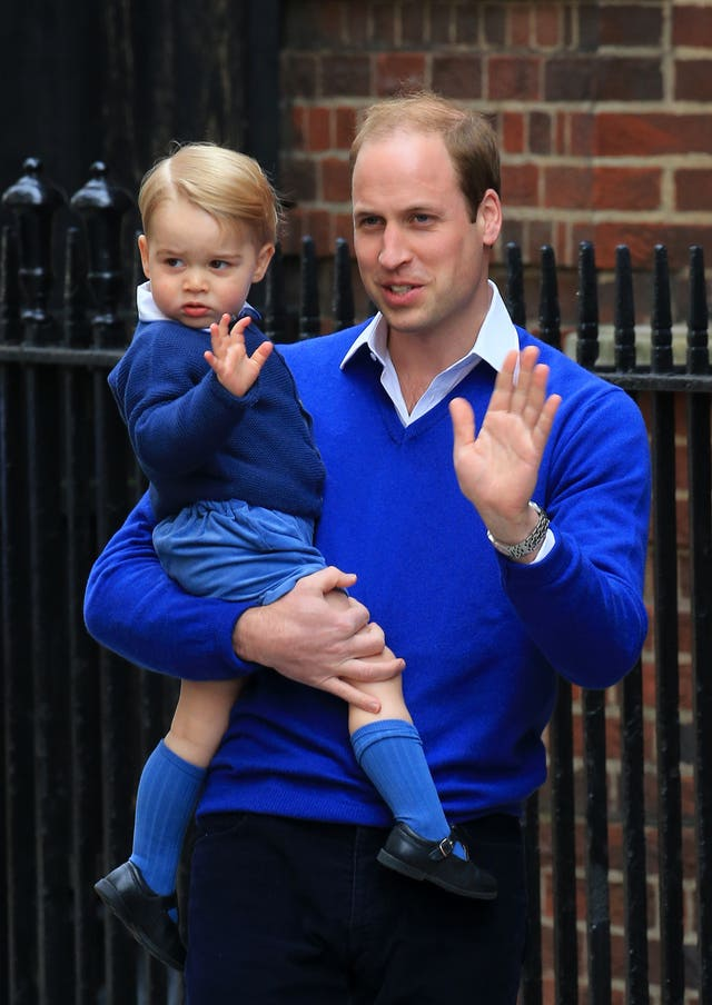 Prince George waves as he arrives at the Lindo Wing in 2015 (Gareth Fuller/PA)