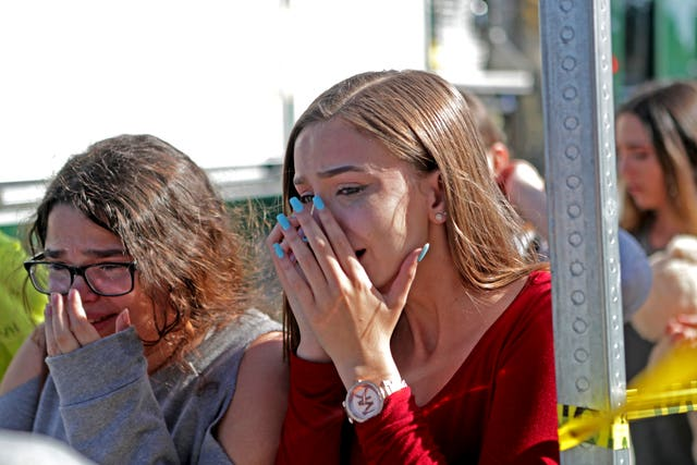 Students are released from lockdown (John McCall/South Florida Sun-Sentinel/AP)