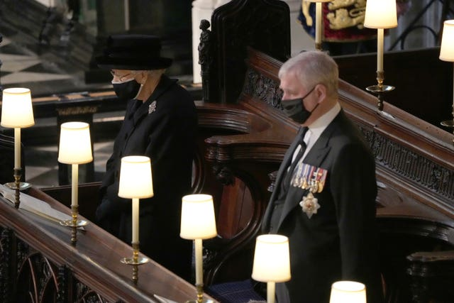 The Queen and the Duke of York during the funeral of the Duke of Edinburgh in St George's Chapel, Windsor Castle