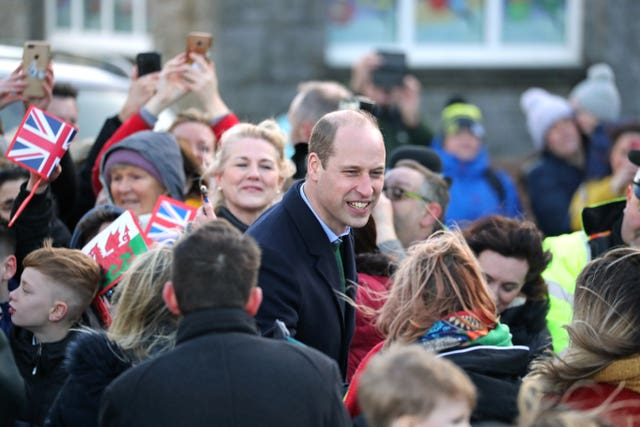 The Duke of Cambridge outside the RNLI Mumbles lifeboat station