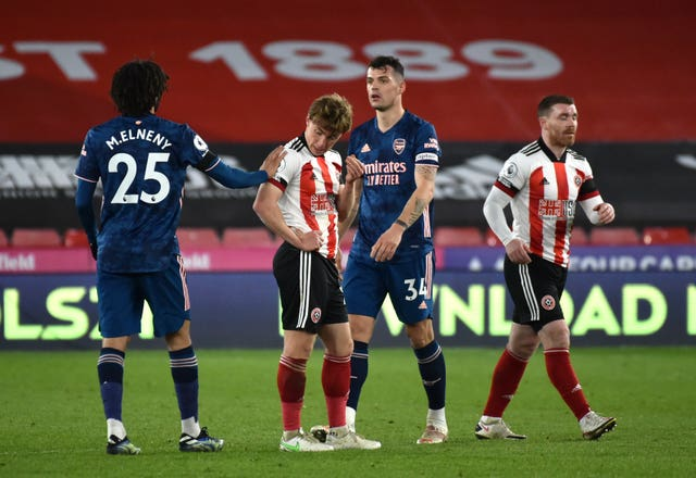 Sheffield United players show their dejection at full-time
