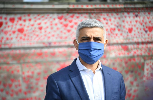 Mayor of London Sadiq Khan at the National Covid Memorial Wall