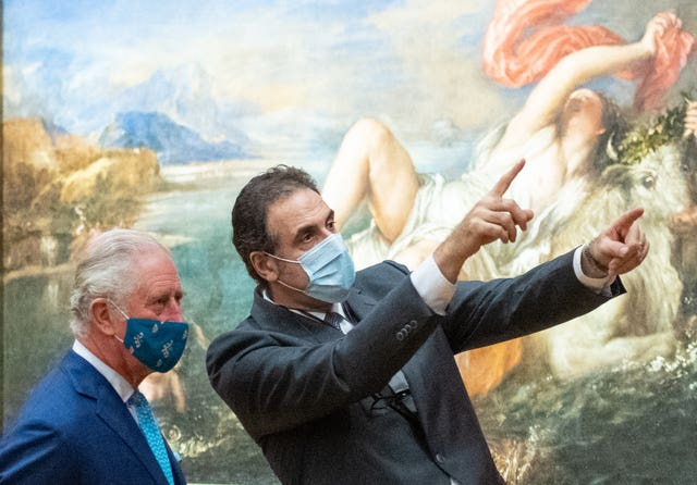The Prince of Wales and National Gallery director Dr Gabriele Finaldi