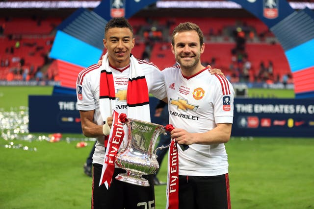 Lingard, pictured left, scored the winner for Manchester United in the 2016 FA Cup final against Crystal Palace