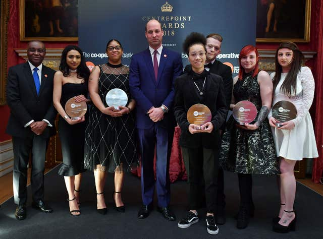 The Duke of Cambridge (centre) and Centrepoint CEO Seyi Obakin (left) with award winners (left to right) Nabila Mirza, Claudette Shay, Talisha Reid-Clementson, Joshua Gargett, Zinnia Young and Tamara Cobb at the 2018 Centrepoint Awards ceremony at Kensington Palace in London (PA Wire / Ben Stansall)