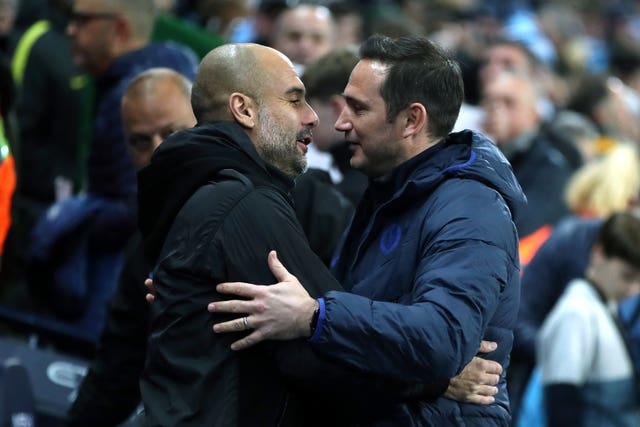 Pep Guardiola (left) and Lampard greet each other ahead of the match