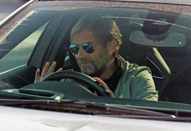 Liverpool manager Jurgen Klopp arrived at the club's Melwood training base on Wednesday (Peter Byrne/PA)