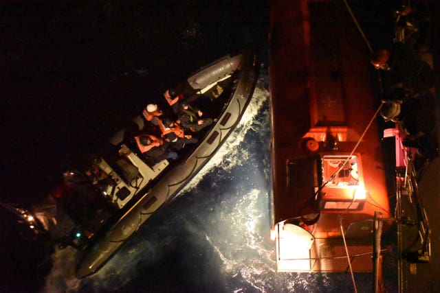 The HMS Argyll crew spent at least four hours trying to save the container ship (Royal Navy/Handout)