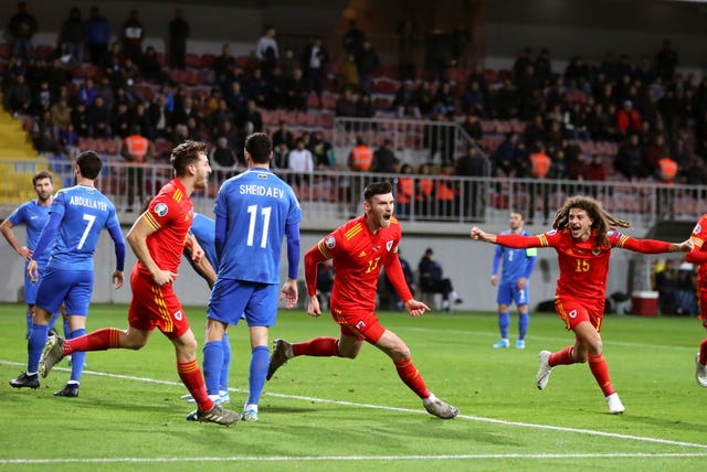 Kieffer Moore opened the scoring as Wales won in Baku
