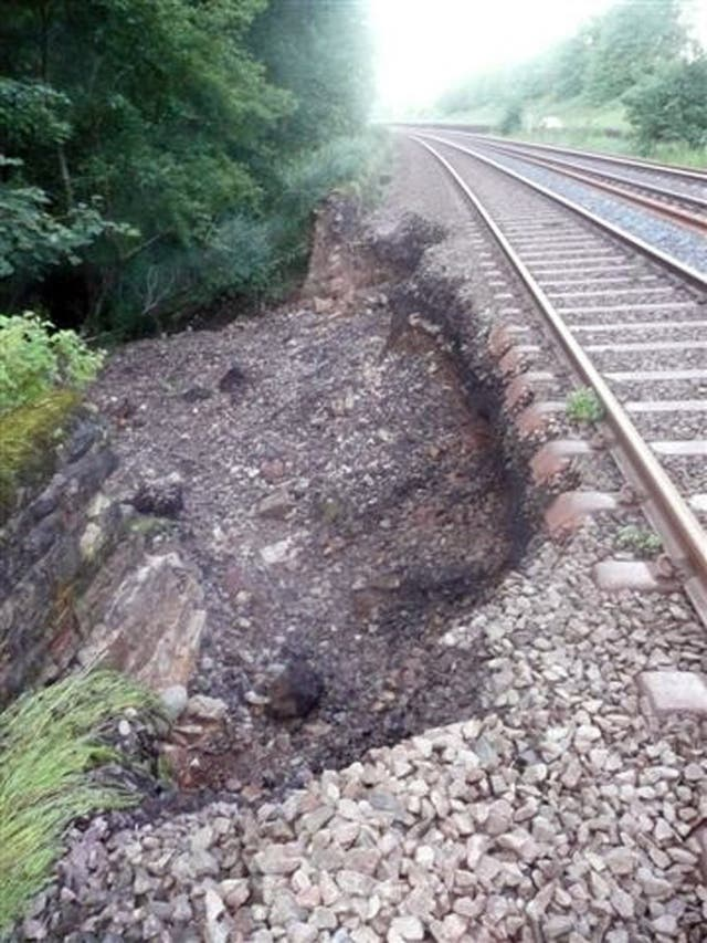 A landslip on the East Coast mainline in Northumberland in June 2012 (Network Rail/PA)