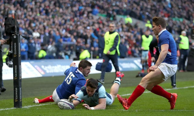 Wing Sean Maitland scored two tries as Scotland beat France 28-17 at Murrayfield to end their Grand Slam hopes