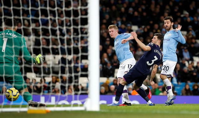 Kevin De Bruyne slots home his goal