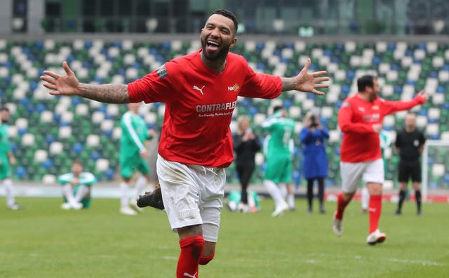 Jermaine Pennant scores the winning penalty during the George Best Celebrity Match at Windsor Park, Belfast