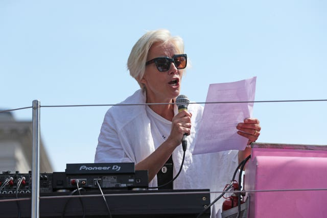 Actress Emma Thompson addresses the Extinction Rebellion demonstrators from the top of a pink boat (Jonathan Brady//PA)