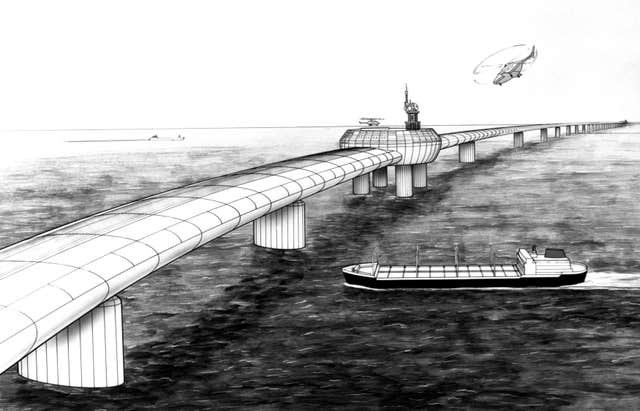 Artist's impression from 1985 of the Eurolink bridge, a plan by four London businessmen for a road/rail bridge across the Channel (Handout/PA)