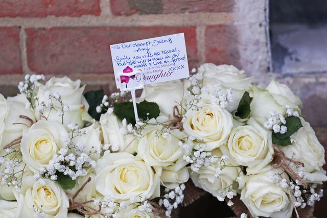 Floral tributes to Amy Appleton in Copthorne