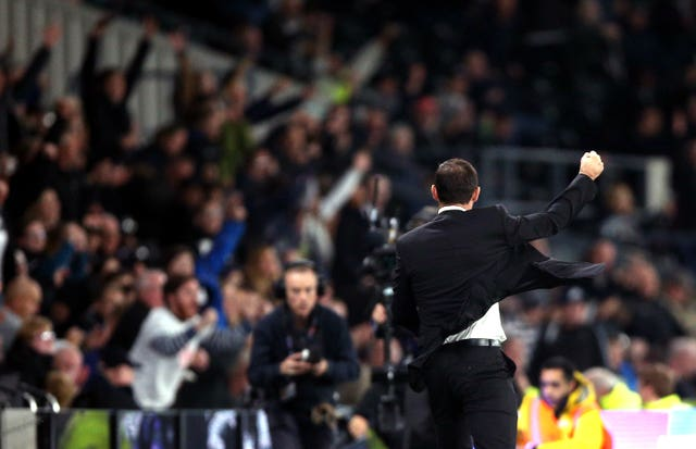 Lampard celebrates in Derby's victory over promotion rivals Sheffield United