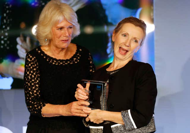 The Duchess of Cornwall  and Anna Burns on stage at the Guildhall in London after she was awarded the Man Booker Prize