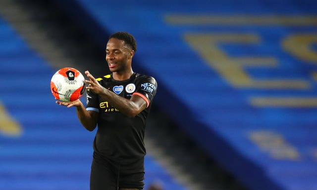 Raheem Sterling with the match ball