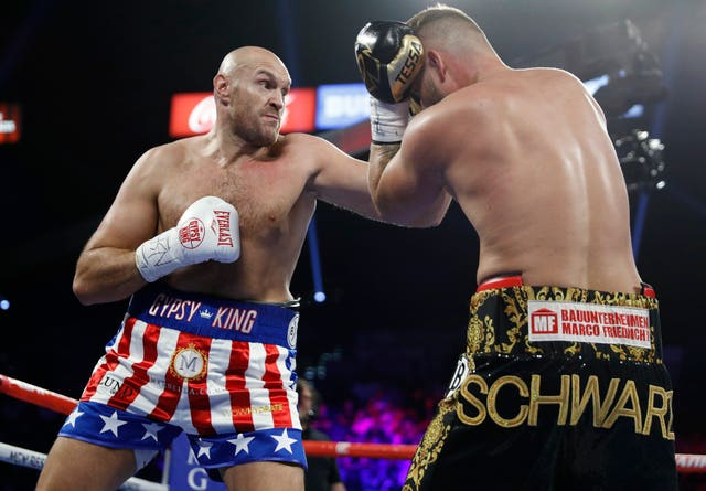 Tyson Fury on his way to a second-round win against Tom Schwarz in Las Vegas