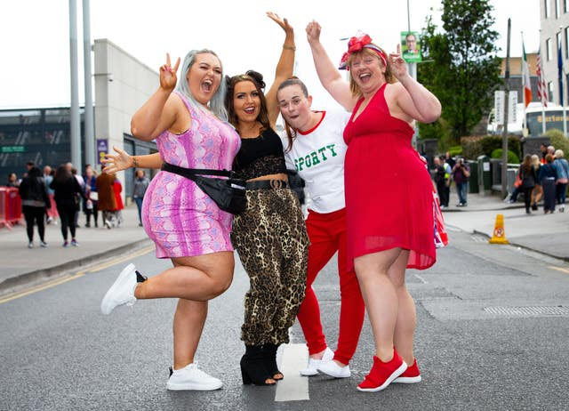 Spice Girls fans arrive at Croke Park stadium in Dublin