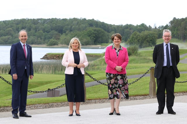 (left to right) Micheal Martin, Michelle O'Neill, Arlene Foster and Michael Gove at the British Irish Council summit