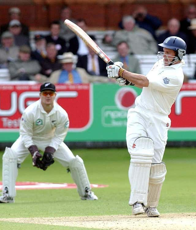 Andrew Strauss on his way to a debut Test century against New Zealand