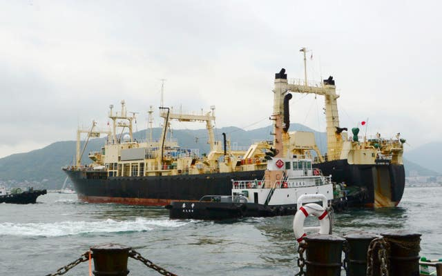 A whaling boat leaves a port in Shimonoseki, Yamaguchi, Japan