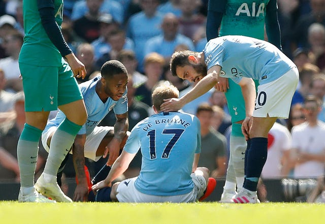 Kevin De Bruyne was injured during the win over Tottenham