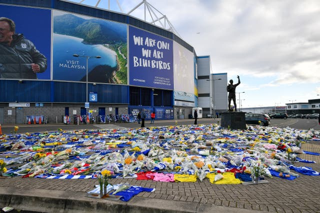 Floral tributes to Sala were left outside the Cardiff City Stadium