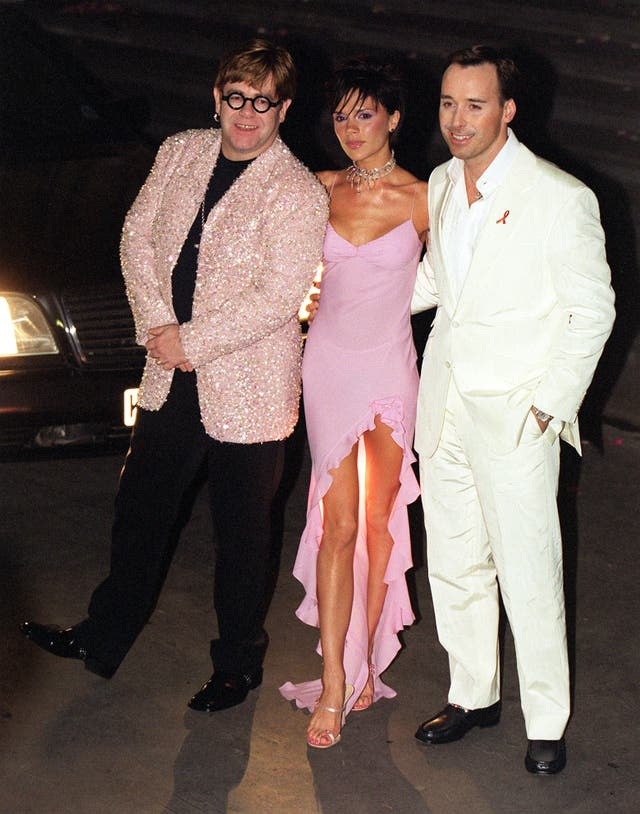 Sir Elton John, Victoria Beckham and David Furnish