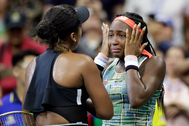 World number one Naomi Osaka (left) consoled youngster Cori Gauff after beating the 15-year-old at the US Open