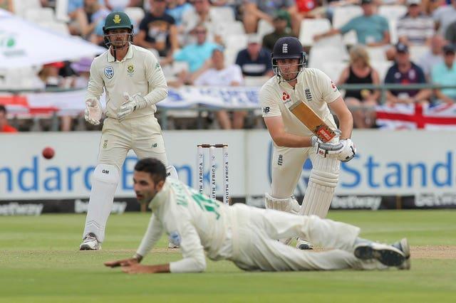 Dom Sibley's drive beats diving bowler Keshav Maharaj