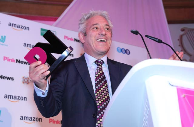John Bercow collects his award