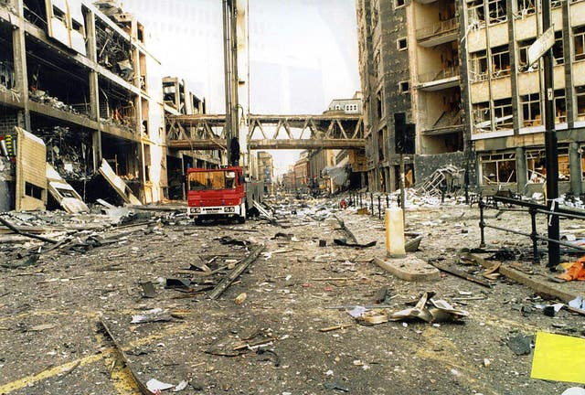 The scene in Manchester after an IRA bomb devastated the city and injured more than 200