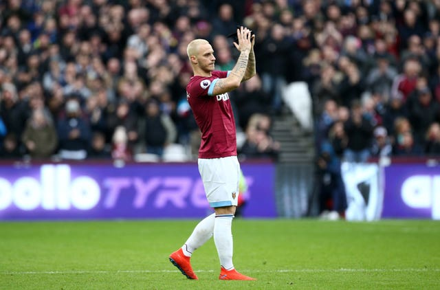 Marko Arnautovic, who started for West Ham amid interest from China, applauds the crowd as he is substituted (Yui Mok/PA).